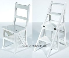 Solid Mahogany Distressed White Convertible Ladder Chair Library Step Stool 113a