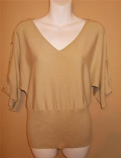 Cable and Gauge Gold  Spring Top Blouse Laces on Dolman Sleeves New Free Ship