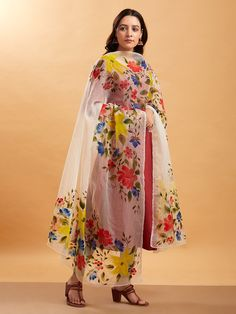 Buy Multicolor Hand Painted Organza Dupatta online at Theloom