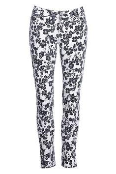 #Romwe Black Floral Print White Pants