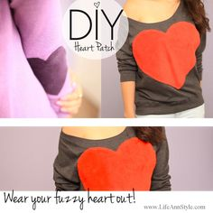DIY super Easy Fuzzy Red Heart & Elbow Patch!!! Maybe do this with a cute oversized  sweatshirt and a gold heart :)