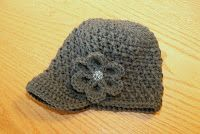 Little Girl Knit Hat with brim and flower
