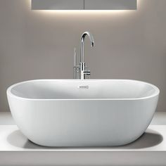 Randolph Morris 55 Inch Acrylic Double Ended Freestanding Tub - No Faucet Drillings