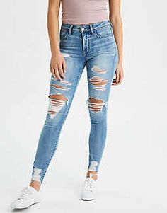 Shop American Eagle for Women's High-Waisted Jeans that look as good as they feel. Browse jeggings, skinny jeans, Curvy jeans and more in the high-waisted fit you love. Cute Ripped Jeans, Ripped Jeggings, Ripped Jeans Outfit, Denim Jeans, Harem Jeans, Denim Leggings, Hollister Jeans, Denim Outfit, Blue Jeans