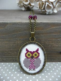 Aubergine Owl Cross Stitch Necklace, Plum Textile Pendant Necklace, Embroidered Necklace Woodland Jewelry, Owl Necklace Cross Stitch Jewelry