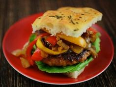 San Gennaro Sausage and Pepper Burgers from CookingChannelTV.com