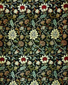 Textile: Floral Pattern-Eveniode Chintz, 1883, by William Morris (1833-1898) | William Morris's designs for fabrics, wallpaper, and other decorative arts revolutionized Victorian taste and contributed to the revival of traditional textile arts, generating the Arts and Crafts Movement in England. #Morris