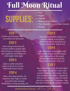 Full Moon Prep ★ Part 2 of 2 Use this infographic to get step-by-step instructions for how to do a simple Full Moon ritual in order to release what my custom Full Moon Tarot spread brought up for you (as seen on my Astrology board)<br>