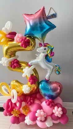 Balloon Crafts, Birthday Balloon Decorations, Balloon Gift, Diy Party Decorations, Unicorn Birthday Parties, Unicorn Party, Birthday Celebration, Balloon Arrangements, Balloon Centerpieces