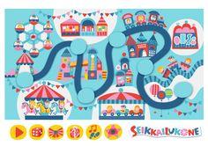 Seikkailukone   tulostettava   paperi   kartta   peli   tehtävä   huvipuisto   lapset   game   map   amusement park   children   kids   free printable   Pikku Kakkonen