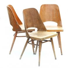 Set of 3 Type 514 dinner chairs from the sixties by unknown designer for Ton Czechoslovakia Bauhaus Style, Dinner Chairs, Restoration, Stool, Art Deco, The Originals, Sofas, 1960s, Furniture