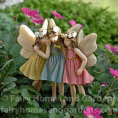 Miniature Fairies Sharing Secrets - Garden Style - Miniature Fairies Sharing Secrets This adorable trio of fairy girls have white flowers in their hair, Fairy Garden Pots, Fairy Garden Supplies, Fairy Garden Houses, Fairy Statues, Fairy Figurines, Miniature Fairy Gardens, Miniature Fairies, Fairy Garden Accessories, Fairy Doors