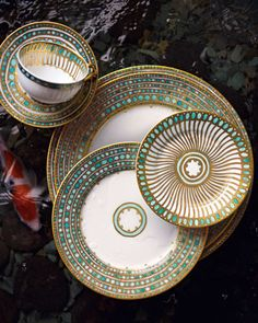 """Syracuse"" Haviland Dinnerware - Horchow / Something like this might be a bit ornate, but if the rest of the kitchen/dining area is fairly minimalist, I can see it working. Pebeo Porcelaine 150, Deco Table, Deco Design, Teller, Tea Set, Home Accessories, Dishes, Beautiful, Home Decor"