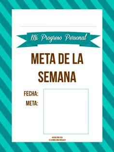 Un imprimible para ayudarte a completar una meta del Progreso Personal, una semana a la vez usando notas adhesivas. Disponible en 9 colores diferentes.  https://es.scribd.com/ohsicasy