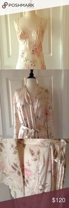 Vintage VICTORIA SECRET 100% Silk and Lace Set Victoria Secret 100% silk with lace trim long slip and matching robe. Size M. Luxury at its highest and most beautiful. Pristine condition! Victoria's Secret Intimates & Sleepwear Robes