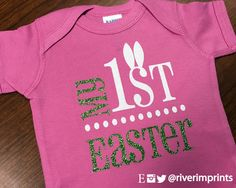 Baby's MY 1st EASTER, girl's glittery Easter bodysuit one piece