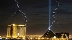 Lightning strikes near the Eiffel Tower in Paris on Aug. 20, 2011