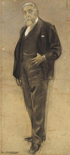 Portrait of Josep Coll i Britapaja (Ramon Casas y Carbó - ) Human Figure Drawing, Fine Art Drawing, Figure Sketching, Guy Drawing, Art Drawings, Spanish Painters, Spanish Artists, Ramones, Beard Art