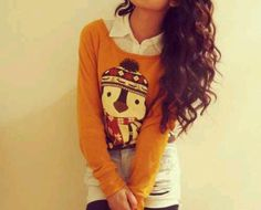 Penguin sweater. Cute winter outfit
