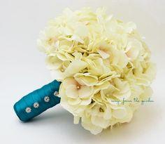 Wedding Bouquet Cream Silk Hydrangea Teal Ribbon Rhinestone Accents Silk Flower Bridal Bouquet