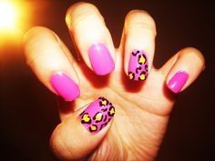 leopard #nails I like how it's just the thumb and ring finger
