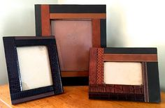 Recycled Leather Belt Picture Frame - 4X6, 5X7, 8X11, 11X14, Leather Frame, Gifts for Him, Father's Day Gift, Man's Cave, Leather Crafts by RemadeByMaria on Etsy