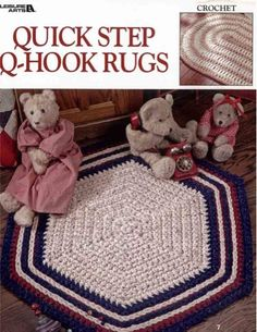Crocheted rugs in an array of classic styles and colors will enhance any room of your home. Each lovely floor covering is quick to make holding 4 and 6 strands of yarn together, and you'll find 8 pretty patterns from which to choose, including ovals, checks and hexagons.
