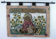 $22.00 Boyds Bears & Friends Ain't Life Sweet Tapestry Wall Hanging with Wood Dowel-USA