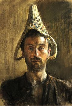 SELF-PORTRAIT WITH BASKET (1883) by Antonio Mancini ( 1852-1930) oil on canvas