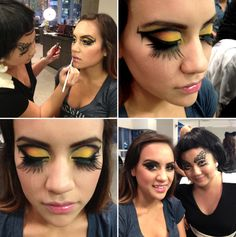 "Q talent, Paula creates a ""Pikachu"" inspired makeup as part of her beautiful client's Halloween look. Check out those Make Up Forever Lashes. All products at CurliQue Beauty, Vancouver."