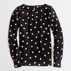 Black and white polka dot printed boatneck blouse from J.Crew Factory! SAY WHAT NOW! :)