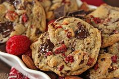 Raspberry Almond Chocolate Chunk Cookies - CupcakeCandyCastle
