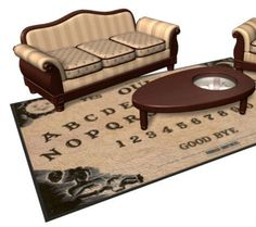 "Okay, this is a pretty clever design of a ouija board area rug and a coffee table in the shape of a planchette. The conceptual design was imagined by Dave Delisle of Dave's Geek Ideas. Dave came up with idea back in 2013. The good news is that apparently now you can actually own this set!   According to Dave, ""If you absolutely want one, contact my friends at Tom Spina Designs for an estimate, they can build it for you.""   I just checked out Tom Spina Designs' website. I couldn't find any..."