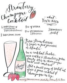 Strawberry champagne cocktail recipe.