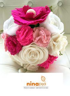 NIÑA PIJA Complementos de bodas originales y creativas: Ramo De Novia De Flores De Fieltro Y Tela