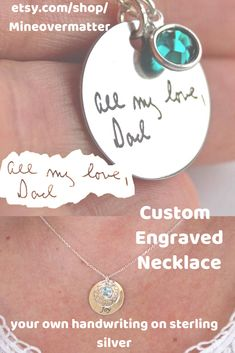 Custom engraved handwriting necklace, memorial jewelry with personalized quote, birthstone charm necklace, unique customize silver gift, Custom Engraved Necklace, Engraved Jewelry, Soirée Pyjama Party, Art Necklaces, Silver Necklaces, Silver Jewelry, Lotus Jewelry, Dragonfly Necklace, Memorial Jewelry