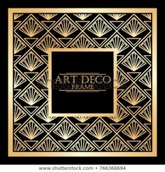Vintage retro frame in Art Deco style. Template for design. Vector illustration. Moda Art Deco, Art Deco Fashion, Framed Art, Retro Vintage, Frames, Illustrations, Patterns, Design, Image