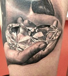 This hand full of bling was inked by Matteo Pasqualin. #InkedMagazine #realism #diamond #tattoo #tattoos #blackandgrey