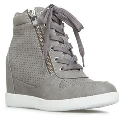 ShoeDazzle Wedge Elisa Womens Gray ❤ liked on Polyvore featuring shoes, grey, wedges, gray shoes, zip shoes, perforated shoes, wedge sneaker shoes and wedge heel shoes