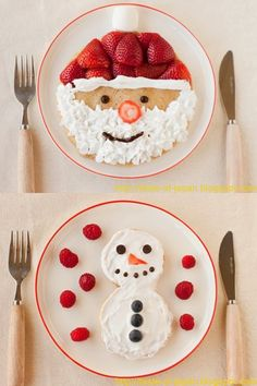 pancake for kids [Christmas] Vegan Santa Claus + Snowman Pancakes via mayuuu Christmas Snacks, Christmas Baking, Holiday Treats, Holiday Recipes, Christmas Pancakes, Kids Christmas, Merry Christmas, Food Art For Kids, Christmas Morning Breakfast