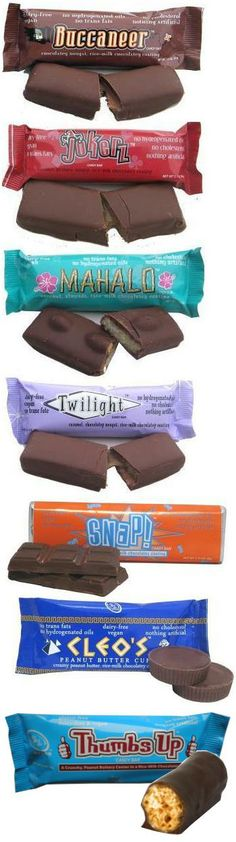 Go Max Go Chocolate Bars Mahalo, Snap, Cleo's Peanut Butter Cups, and Thumbs Up are gluten-free.