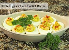 Deviled Eggs Recipe feautring Ham & a kick! #KraftRecipes