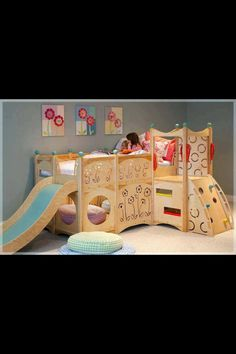 Love this cute slide w/ loft bed on top