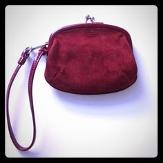 """Vintage Coach Wristlet Coin Purse  Plum colored suede wristlet/coin purse. Authentic Coach. Measures 4"""" by 4.5"""". In excellent condition. REASONABLE OFFERS CONSIDERED. No Lowball Offers  Please use offer button. Thanks for stopping by my closet  Coach Bags Clutches & Wristlets"""
