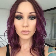Love the purple hair! Mac Makeup Looks, Best Mac Makeup, Beauty Makeup, Hair Makeup, Hair Beauty, Eye Makeup, Purple Hair, Ombre Hair, Mac Eyes