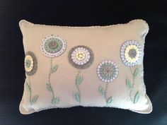 Reserved for Emily T-Penny Rug Flower Pillow, Throw Pillow, Primitive Decor, Decorative Pillow,  FAAP,low, Embroidered Pillow, Pastel Pillow