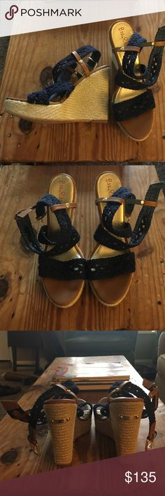 "Lilly Pulitzer navy blue wedge sandals Lilly Pulitzer navy blue and tan 5"" wedge sandals. Worn only once! Perfect condition. Very comfortable and easy to walk in. Brand new! Lilly Pulitzer Shoes Wedges"