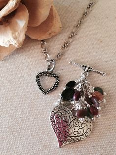 Etched Heart Touched By Tourmaline Beaded Dangle Necklace