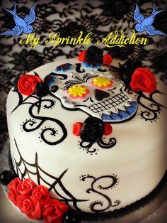 Sugar Skull Cake with fondant roses Fondant Rose, Fondant Cakes, Cupcake Cakes, Sugar Skull Cakes, Sugar Skulls, Skull Wedding Cakes, Gothic Cake, Day Of The Dead Cake, Tattoo Cake