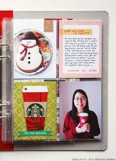 Today I'm sharing December in my December Daily album and it's all about customizing page protectors. It has been fun to use differe. Christmas Journal, Christmas Albums, Christmas Scrapbook, Christmas Books, Christmas Projects, Xmas, Project Life Travel, Project Life Planner, Pocket Scrapbooking